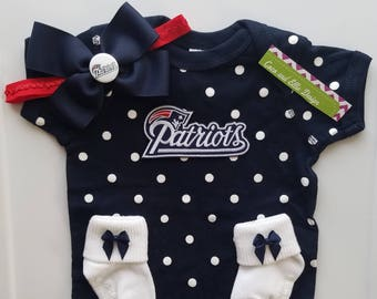 New England Patriots baby girl outfit-baby girl patriots-ne partriots baby girl shower gift-patriots newborn/newborn patriots/baby pats