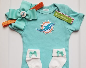 Miami Dolphins baby girl outfit miami dolphins girl take home miami dolphins  coming home miami dolphins baby shower gift dolphins baby girl ba4006ebc