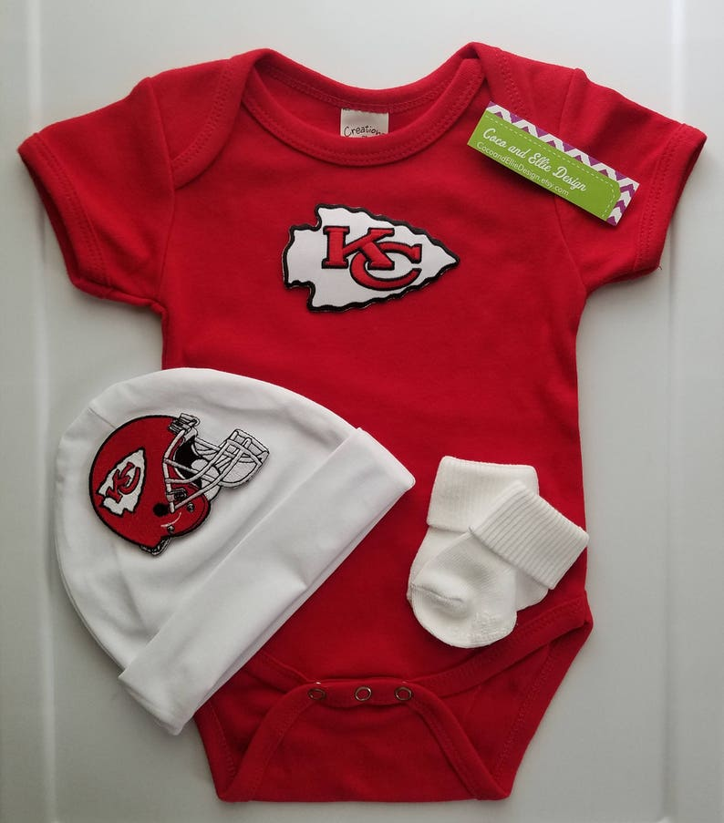 info for 131c6 7d510 Kansas City Chiefs baby outfit with hat/chiefs for baby/kansas city chiefs  baby shower gift/newborn kc chiefs/chiefs take home outfit
