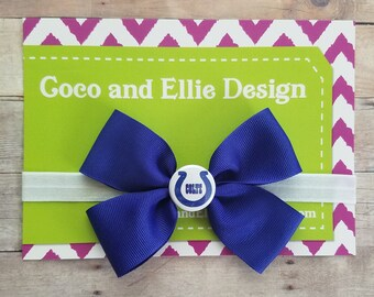 Indianapolis colts bow heaband/colts bow headband/colts headband/baby girl colts/indianapolis colts baby girl gift/indy colts bow/girl colts