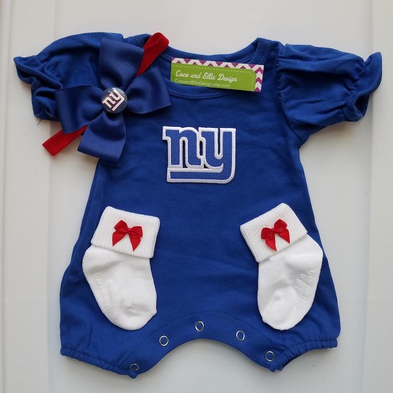New York Giants Baby Girl Outfit Ny Giants Newborn Ny Giants Etsy