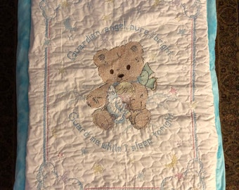 Hand Embroidered Cross Stitch Guardian Angel and Teddy Bear Baby Quilt