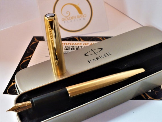24ct Gold Plated Black Parker Frontier Fountain Writing Pen IGift Tin Ink 24k