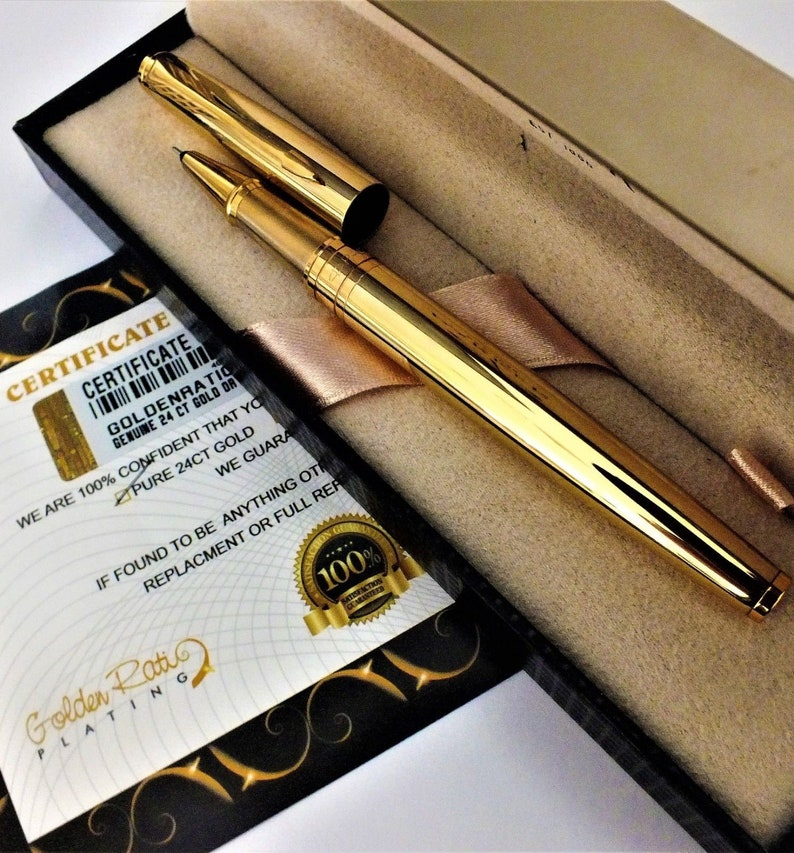 24Ct Gold Plated Black Parker Vector Fountain Writing Pen New Gift Boxed 24K