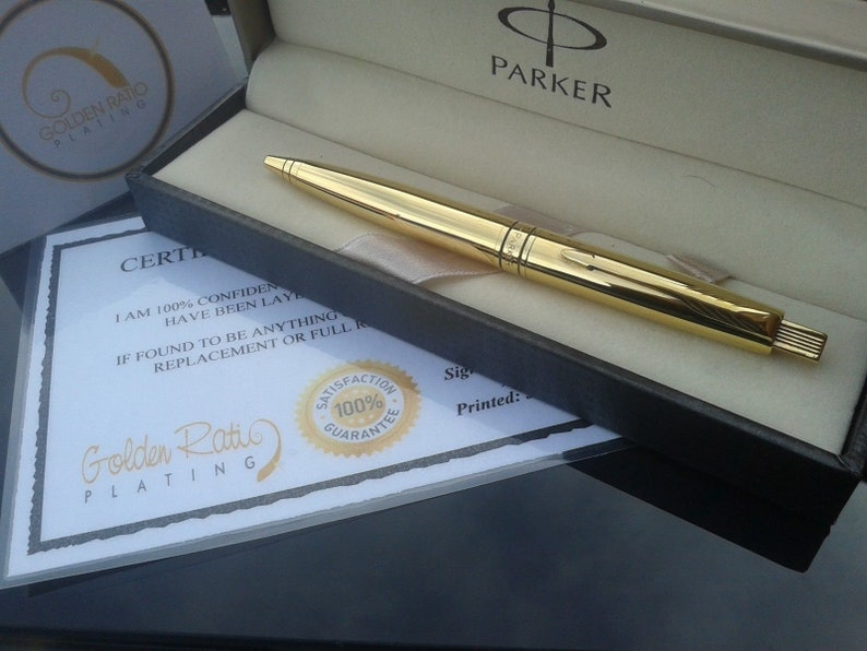 24Ct Gold Plated Shiny Parker Aster Ballpoint Writing Pen Ink Gift Boxed