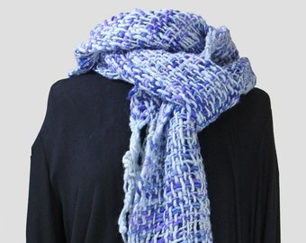 Blue boho, felted, handwoven wool scarf