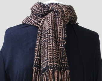Beautiful bars, chestnut and black patterned, handwoven wool scarf