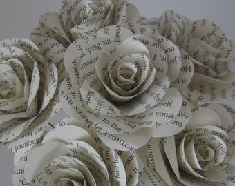 Book Page Flowers, Single White Book Page Rose, Book Lover Gift, Book Themed Wedding Flowers