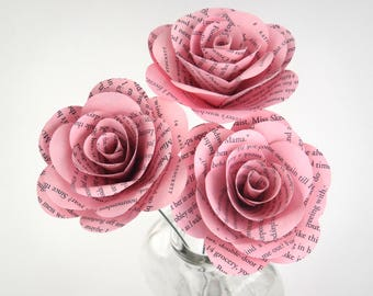 Pink Book Page Flowers, Pink Wedding Flowers, Literary Gift, Book Wedding Theme