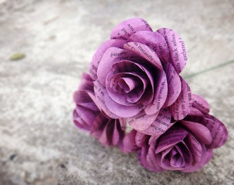 Purple Book Page Flowers