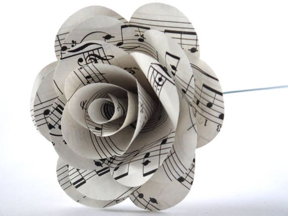 Music Paper Flowers Music Note Flowers Music Page Rose Etsy