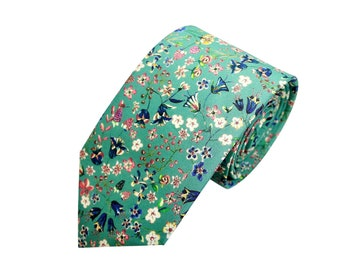 43b9327d298c Green Floral Tie, Floral Tie, Liberty of London Tie