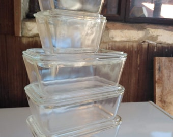 Vintage Pyrex Refrigerator Dishes - Clear - 501 / 502 - Set of 5
