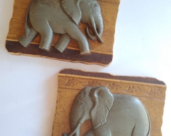 Vintage Plastic Elephant wall plaque set of 2 - made for Home Interiors Gifts -  GIA inc