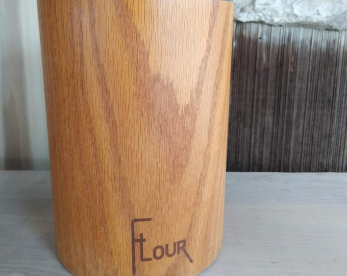 Vintage Cornwall Soft touch oak flour canister - humidity control - danish modern