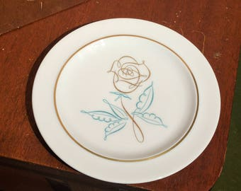 Vintage Easterling Spencerian Rose Bread & Butter Plate- Mid Century - MCM - Porcelain