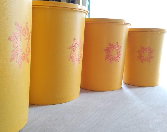 Vintage Tupperware Servalier Canister Set of 4 - Maize Harvest Yellow Orange