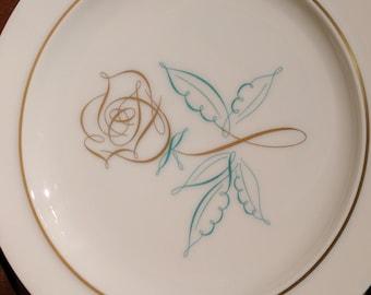 Vintage Easterling Spencerian Rose Salad Plate - Mid Century - MCM - Porcelain