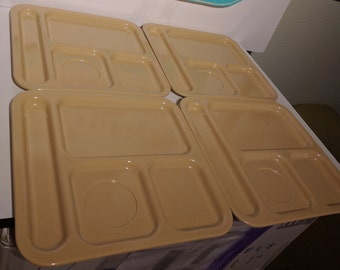 Vintage Texas Ware Square Lunch Trays - Tan & red - Stackable - Melamine / Melmac - Mid Century - Kids