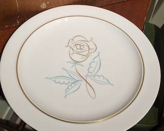 Vintage Easterling Spencerian Rose Dinner Plate - Mid Century - MCM - Porcelain