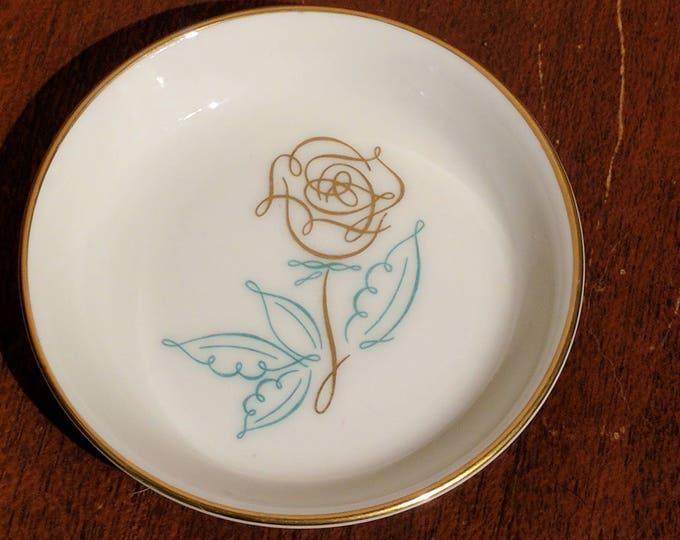 Vintage Easterling Spencerian Rose Butter Pat Dish - Mid Century - MCM - Porcelain