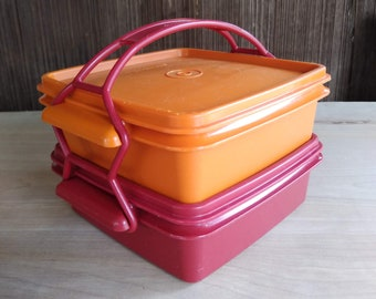Vintage Tupperware Square Away Cariolier Stackable Lunch 2 Sandwich Storage - Harvest Orange Red