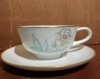 Vintage Easterling Spencerian Rose Footed Cup & Saucer Set - Mid Century - MCM - Porcelain