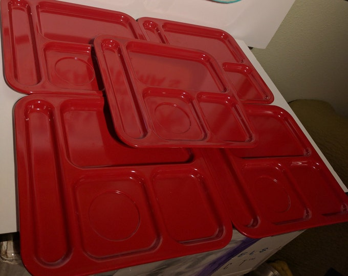 Vintage Texas Ware Square Lunch Trays - Red - Stackable - Melamine / Melmac - Mid Century