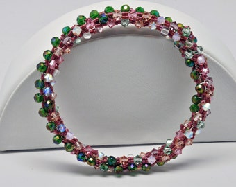 Woven Pink and Green Bead Bangle