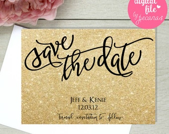 Golden save the date, gold save the date, glitter save the date, gold glitter cards, sparkling texture printable save the date card
