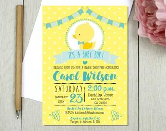 Baby duckling baby shower, rubber duck invitation, duckie theme party, baby duck, duckling, rubber duckie.