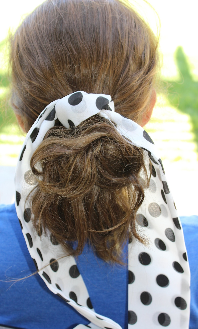 long approx 42 inches long white with black dots 3 inches wide scarf hair ties polka dot perfect hair accessory