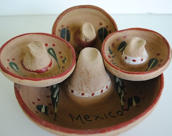 Souvenir Mexican Hat Pottery Ashtrays from Mexico