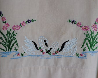 Pink Pillowcases Swans on a Lake Embroidery