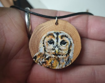 Tawny Owl Wood Painting Necklace