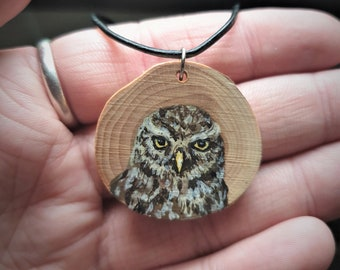 Little Owl Wood Painting Necklace