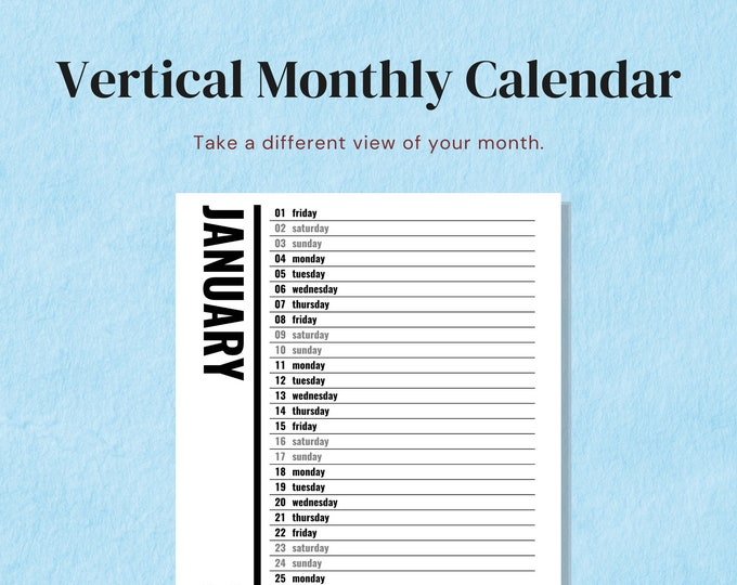 Featured listing image: 2021 Vertical Monthly Calendar, Letter Size, Minimalist Black and White, Month on One Page, Big Happy Planner