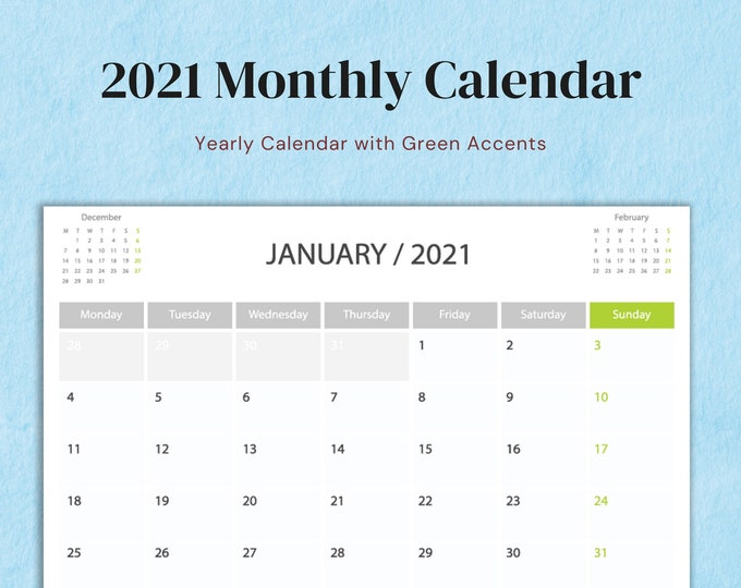 Featured listing image: A4 Size, 2021 Full Year Calendar with Green Accents, Minimalist Design