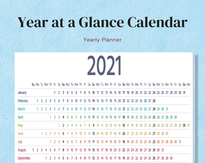 Featured listing image: 2021 Year at a Glance Rainbow Calendar, Letter Size, Big Happy Planner