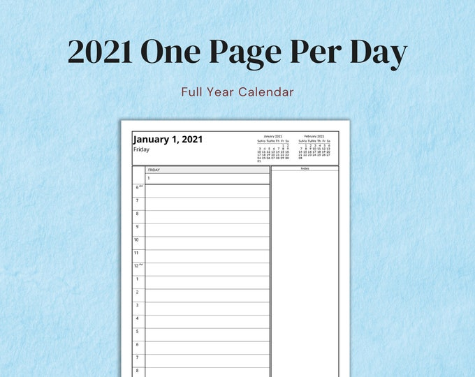 Featured listing image: Letter Size Full Year Dated One Page 2021 Printable Insert