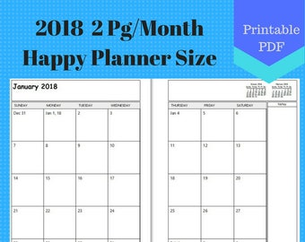 2018 letter size two page per month monthly calendar pages etsy