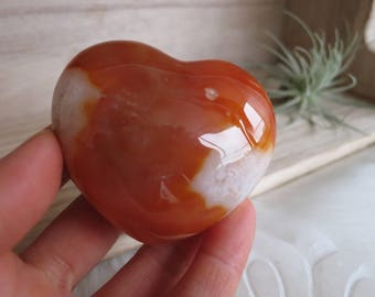 128g Carnelian Agate With Quartz Drusy Puffy Heart - ITEM #160 - 5.9 x 5 x 3.1cm