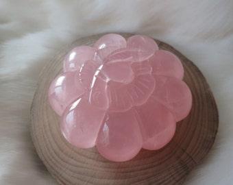 Hand-carved Rose Quartz Pumpkin - ITEM #49 - 6.6 x 6.4 x 3.6cm