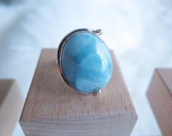 Size 5.5 Handmade Genuine Dominican Republic Larimar Sterling Silver Ring