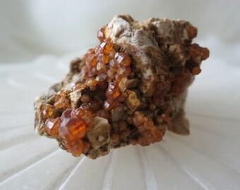 30g Raw Spessartine Garnet on Matrix From Ming Xi Mine, Fujian, China - ITEM #139 - 4.6 X 3.5 X 2.4cm
