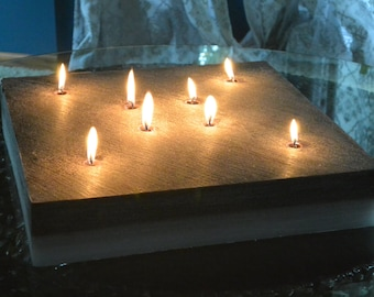 Custom hand poured 15 x 15 inch square candle with 8 wicks