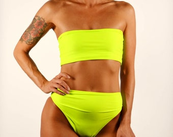 eda39afdede61 Neon Yellow Bandeau Bikini Top