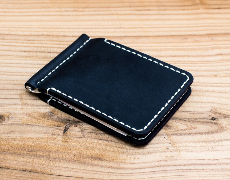 90ad223d22993 Leather money clip Card holder Gift for men Leather wallet