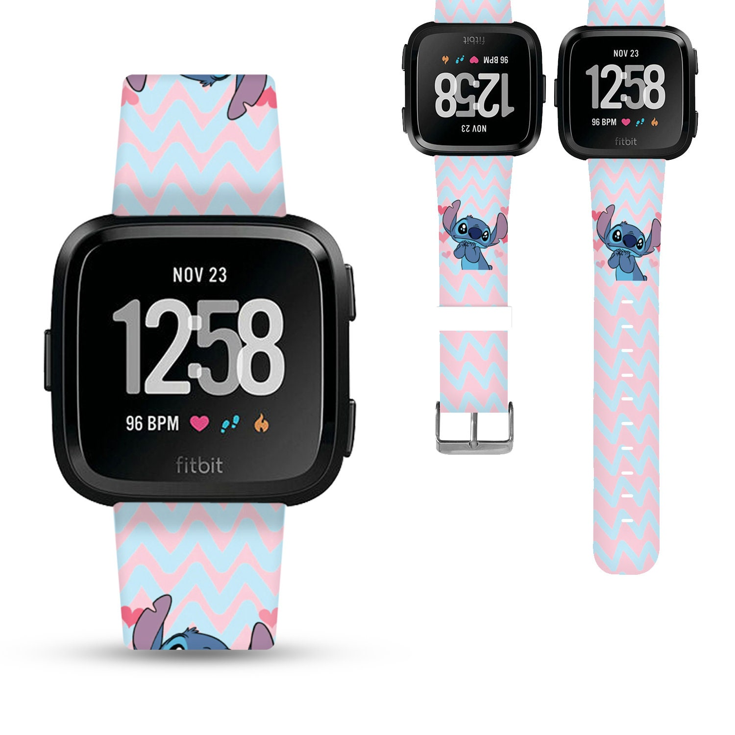 Fitbit watch band women, cute genuine leather watch band, Fitbit versa,  blaze, charge 2, charge 3, iwatch band, chevron blue pink -v9