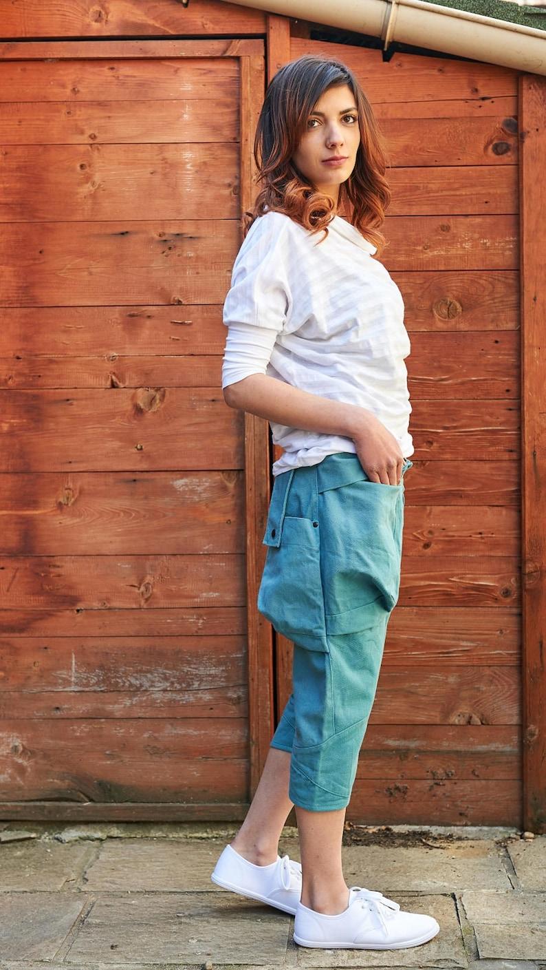 Beach Capris Boho Pants Plus Size Clothing Turquoise Pants Summer Pants Comfortable Pants Elegant Pants Cotton Capris Women Capris